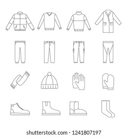 Warm winter clothes collection icon set. Linear vector illustration isolated on white background