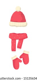 Warm winter clothes flat vector illustration. Xmas themed garments. Apparel store products. Cold weather protection. Traditional knitwear items. Hat with pompon, knitted scarf and mittens