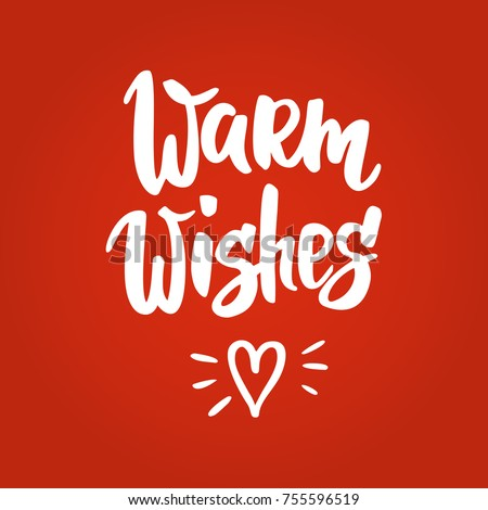 Warm Wishes Christmas Card Hand Drawn Stock Vector Royalty Free