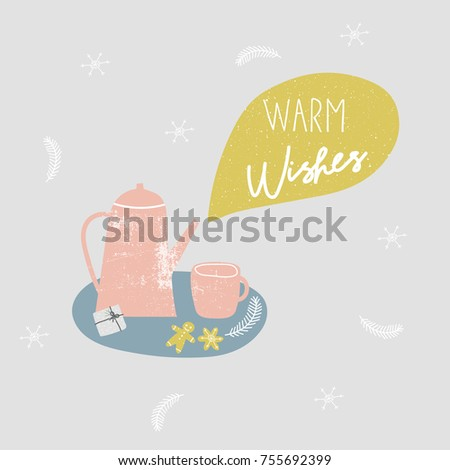 Warm Wishes Christmas Card Holiday Greetings Stock Vector Royalty