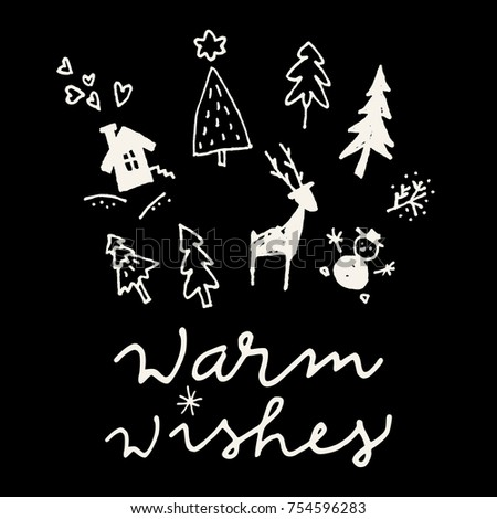merry christmas calligraphic hand drawn greeting card in black and white vector - Christmas In Black And White
