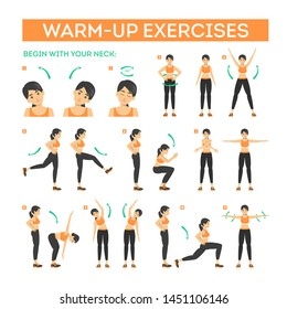 Warm-up exercise set before workout. Stretch muscles for physical training. Female character in sport clothes. Balance movement. Isolated vector illustration in cartoon style