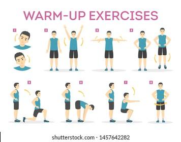 Exercice d'échauffement avant l'entraînement. Serrer les muscles pour l'entraînement physique. Personnalité masculine en vêtements de sport. Déplacement de l'équilibre. Illustration vectorielle isolée dans un style de dessin animé