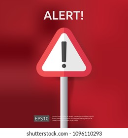 warning alert sign with triangle exclamation mark symbol. hazard disaster concept. attention protection icon. severe weather and earthquake notification. vpn internet safety alert vector illustration