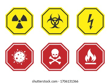 Warning anf hazard signs, warning symbol icons set