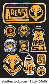Warning Area 51 and UFO Sign, yellow font sign on a black background, vector illustration