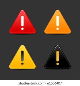Warning attention sign with exclamation mark web 2.0 button. Smooth triangular shape with shadow on black background