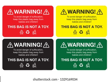 Warning, To avoid danger of suffocation, keep away from babies and children. This bag is not a toy. Sticker or Tag Label, Vector EPS 10.