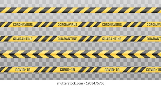 Warning black and yellow warning tapes. Stop coronavirus, covid-19, border closed, do not cross. Isolated on transparent background.Vector illustration.