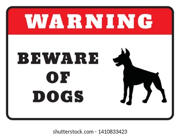 Warning Board-Beware of dogs sign drawing by illustration