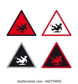 Warning caution traffic sign vector set slippery