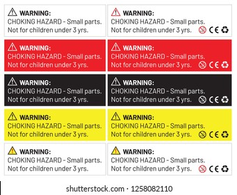 WARNING: CHOKING HAZARD - Small parts.  Not for children under 3 yrs. Sticker or Label for Toys, Vector EPS 10.