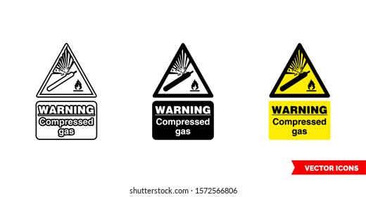 Warning compressed gas hazard sign icon of 3 types: color, black and white, outline. Isolated vector sign symbol.