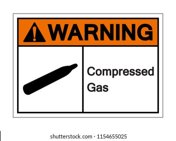 Warning Compressed Gas Symbol Sign, Vector Illustration, Isolated On White Background Label. EPS10