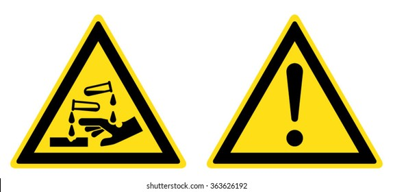 Warning Corrosive substance sign, General warning sign (eps 10)