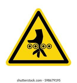 Warning crushing hand, sign, symbol