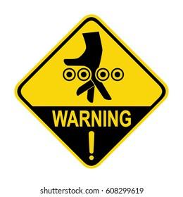 Warning crushing hand sign, symbol