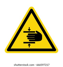 Warning crushing hand. Sign, symbol, illustration
