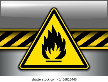 Warning, danger background with highly flammable danger sign, vector illustration.
