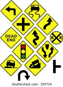 Warning / danger road signs in vector form (left turn; slippery; dead end; intersection; curvy road; light ahead; truck; car; etc)