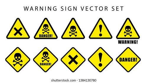 warning danger safety sign set. text on rectangle and triangle frame yellow and black color background