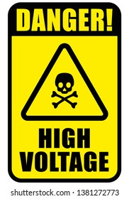 warning danger sign, skull icon high voltage text on rectangle and triangle frame yellow and black color background