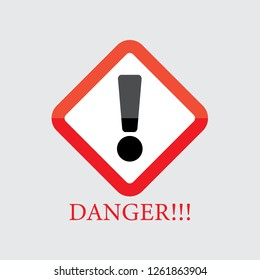 Warning danger sign vector, shield line icon for many application uses.