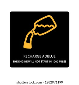 warning dashboard car icon, recharge adblue 1000 miles