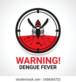 Warning dengue fever sign with mosquitos Drinking blood in circle focus vector design