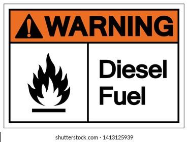 Warning Diesel Fuel Symbol Sign, Vector Illustration, Isolate On White Background Label. EPS10