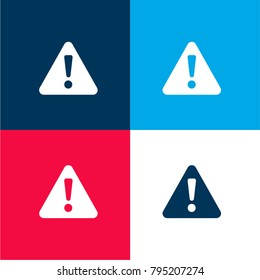 Warning exclamation sign in filled triangle four color material and minimal icon logo set in red and blue