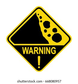 Warning: Falling rocks sign. Symbol, illustration