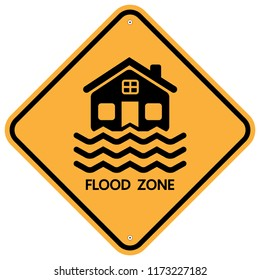 warning flood zone sign,flood disaster isolated on white background.