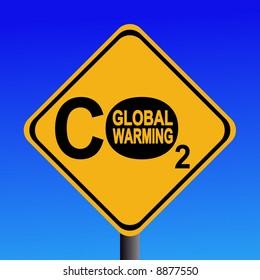warning Global warming CO2 emissions sign illustration