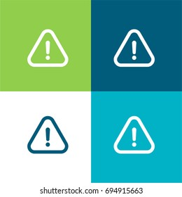 Warning green and blue material color minimal icon or logo design