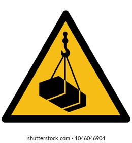 Warning, hazard sign vector - Overhead load label, sticker