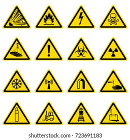 Warning and hazard symbols on yellow triangles vector collection. Safety and caution, risk alert information illustration
