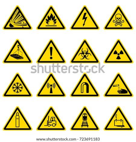 Warning Hazard Symbols On Yellow Triangles Stock Vector Royalty