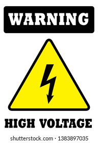 WARNING HIGH VOLTAGE Sign or Board.
