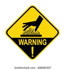 Warning hot surface sign, symbol, illustration