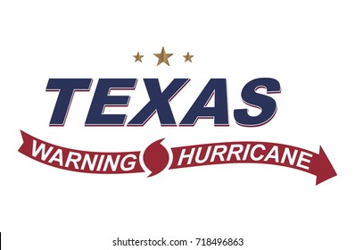 Warning hurricane in Texas. Symbols with arrows on a white background. Flat vector illustration EPS 10.