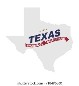 Warning hurricane in Texas. Symbols with maps and arrows on a white background. Flat vector illustration EPS 10.
