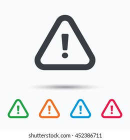 Warning icon. Attention exclamation mark symbol. Colored flat web icon on white background. Vector