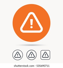 Warning icon. Attention exclamation mark symbol. Orange circle button with web icon. Star and square design. Vector