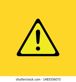 Warning icon, attention, exclamation in yellow background, vector stock, EPS 10