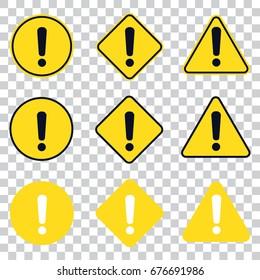 Warning Icon. isolated set.