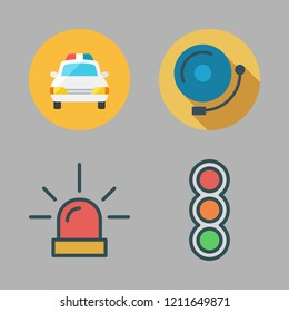 warning icon set. vector set about traffic lights, police car, siren and alarm bell icons set.