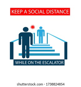 Warning icon symbol to keep the distance to use escalator. New normal practice social distancing.