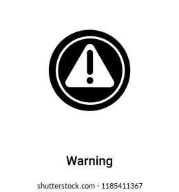 Warning icon vector isolated on white background, logo concept of Warning sign on transparent background, filled black symbol