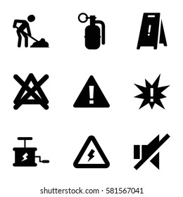 warning icons set. Set of 9 warning filled icons such as wet floor, no bleaching, digging man, no sound, dynamite
